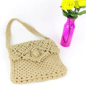 Handbags - Vintage Macrame Purse Cross Body Bag Woven Tan